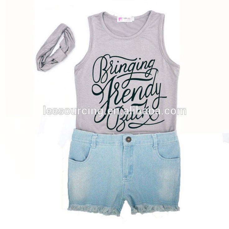 Wholesale 3 pieces kids t shirt casual beach wear set w/ headband