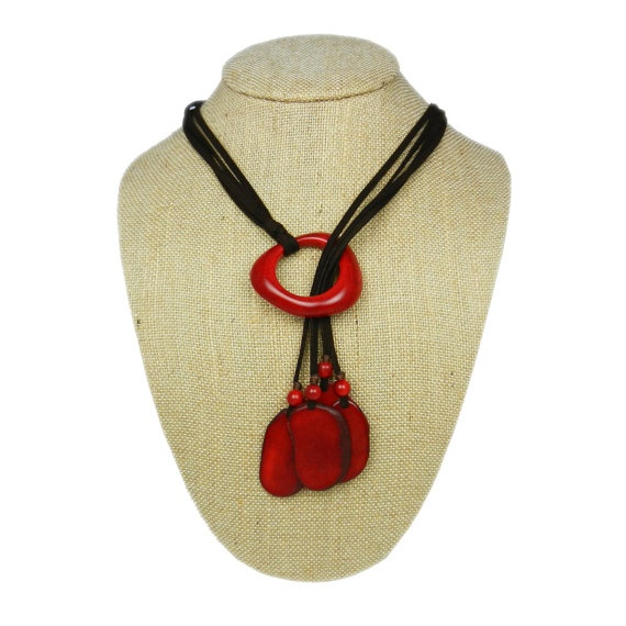 A different take on a lariat. Love the red tagua! $29