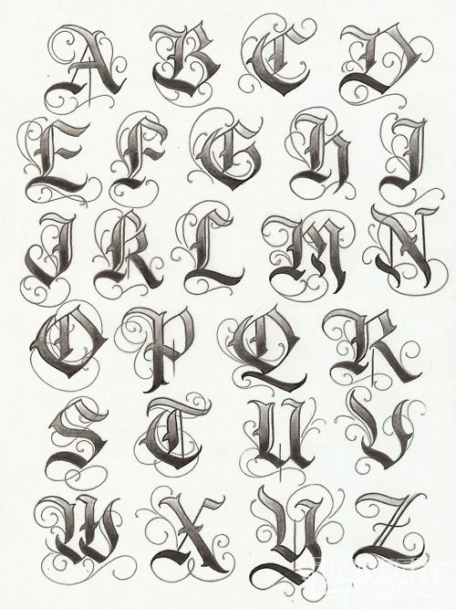 Gothic Tattoo Lettering Design Love
