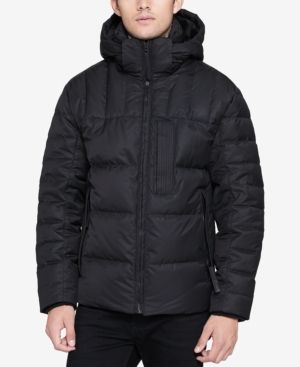 Andrew Marc Men's Breuil Quilted Full-Zip Puffer Parka with Removable Space-Blanket Bib - Black 2XL
