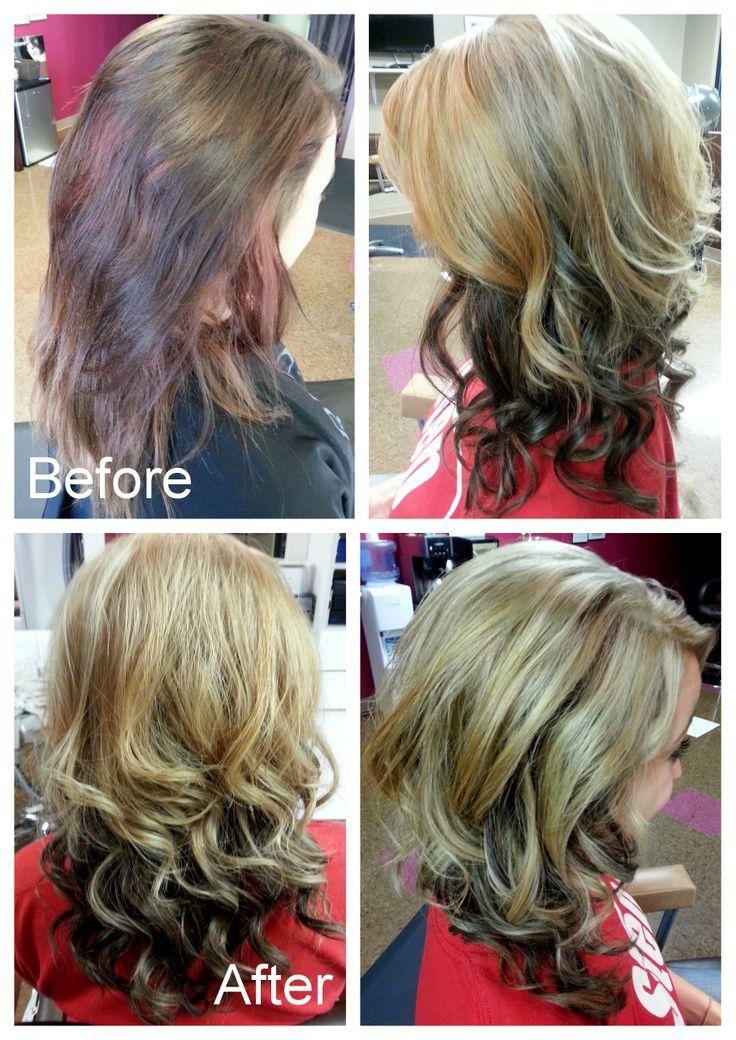 blonde on top brown underneath | Blonde on top and dark brown underneath.
