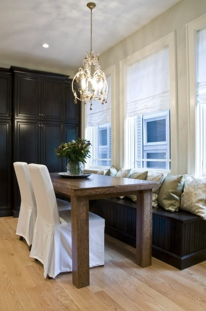 43 best built in breakfast nook images on pinterest for Best transitional dining rooms
