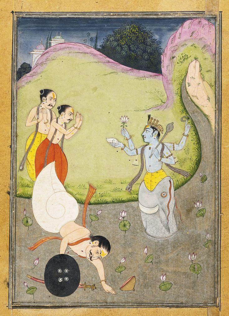 AN ILLUSTRATION TO A BHAGAVATA PURANA SERIES: MATSYA DEFEATING SHANKHASURA   lot   Sotheby's