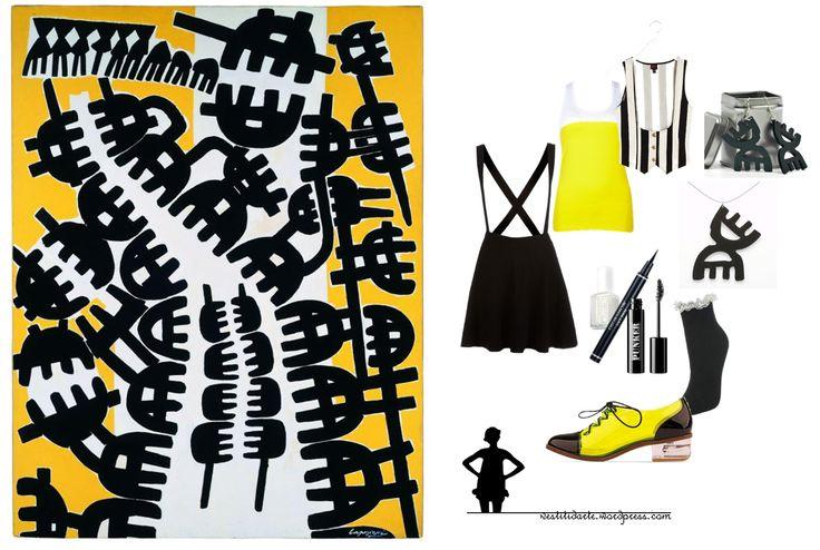 Grafismi d'arte con Capogrossi - http://vestitidarte.wordpress.com/2013/10/21/capogrossi-in-grafismi-bianchi-neri-e-gialli/