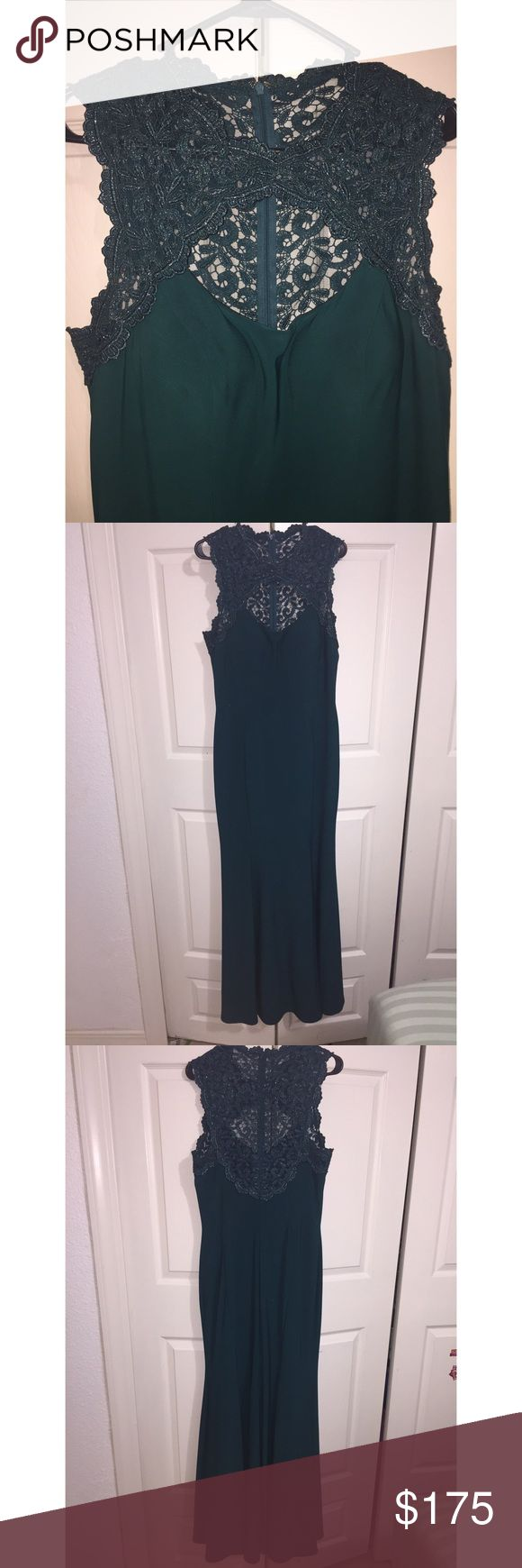 Formal & Elegant Fitted Emerald Gown This gown/dress is perfect for any special occasion. It's floor length, fitted to your curves, and has an opening in the front. This has only been worn once, and has a tiny, black stain towards the bottom of the dress (shown in photos). Xscape Dresses Wedding