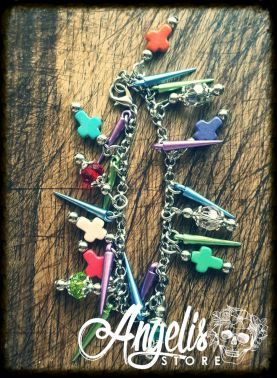 Multicolored Howlite Cross Charm Bracelet with Bead and Colored Vampire Spikes