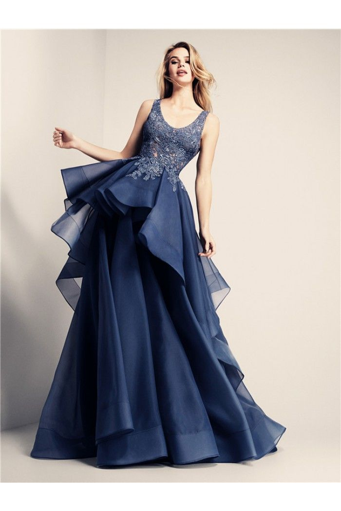 A Line Scoop Neck Long Navy Lace Organza Ruffle Prom Dress