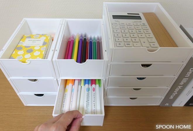 キャンドゥ スリム引き出しボックス ラック の収納アイデア 使い方をブログでレポート 収納 アイデア インテリア 収納 リビング 文房具 収納