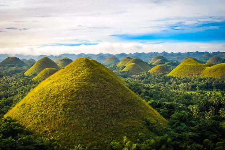 With so many islands the Philippines has very diverse landscapes, one of which is the famous Chocolate hills of Bohol. These grass covered brownish hills spring up hundreds of feet from the ground. There are more than 1,000 of these hills on the island and they are thought to be ancient coral reefs from a time where this part of the world was under water.