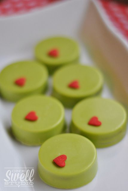 Chocolate covered Oreos at a Grinch Christmas party!  See more party ideas at CatchMyParty.com!  #grinch #partyideas