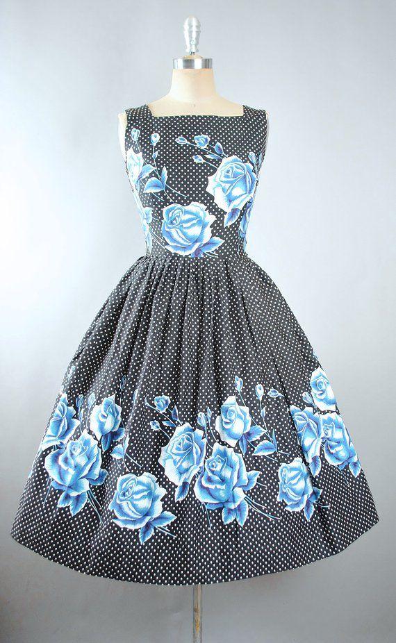 24550f60606 Vintage 50s ROSE Print Dress   1950s Cotton Sundress Oversize ...