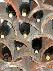 DIY rustic wine rack from roof tiles