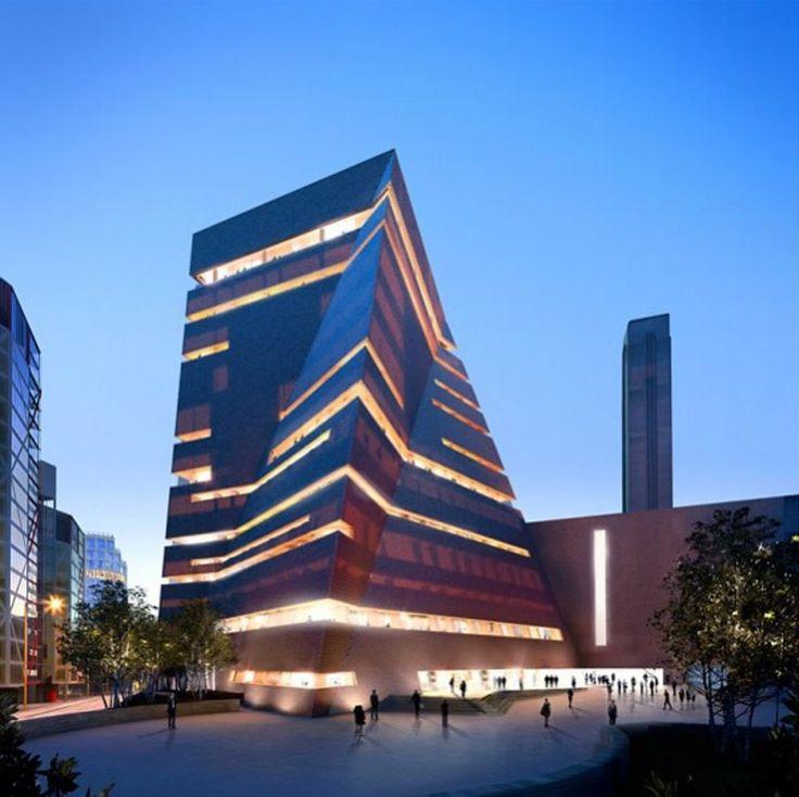 Futuristica la Switch House degli architetti Herzog & de Meuron accantoalla vecchia Tate Modern Londra