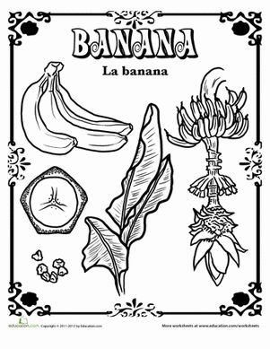 banana in spanish english spanish and worksheets for kindergarten. Black Bedroom Furniture Sets. Home Design Ideas