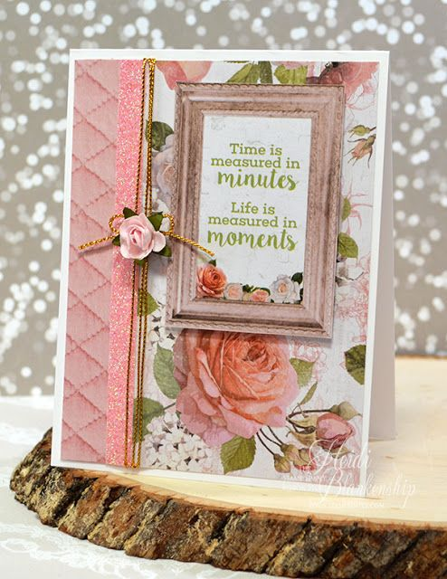 The Stamp Simply Ribbon Store - Cottage Rose CAS Card