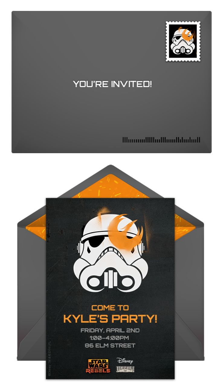 Paper invites are too formal, and emails are too casual. Get it just right with online invitations from Punchbowl. We've got everything you need for your Star Wars themed party. http://www.punchbowl.com/starwarsrebels/express/?utm_source=Pinterest&utm_medium=1.36P