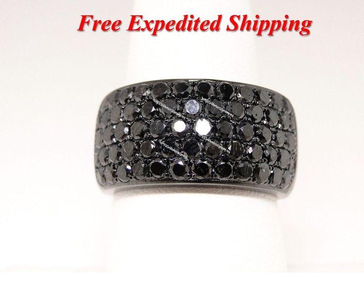 MENS 14K BLACK GOLD FINISH .925 SILVER BLACK PAVE AAA DIAMOND PINKY RING 4.00 CT #br925silverczjewelry #MensWeddingPinkyRing #WeddingEngagementAnniversaryPartyDailyWear