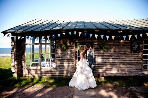 laid-back log cabin beach wedding Ravensheugh Log Cabin, Tyninghame, Scotland