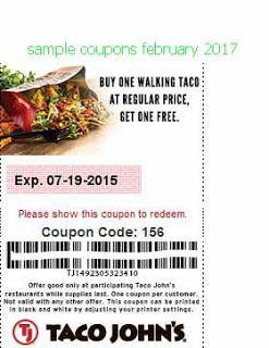 free Taco Johns coupons february 2017
