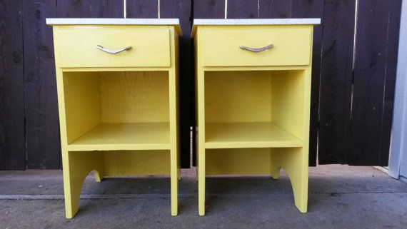 Custom Pair of Nightstands Retro Yellow Bedside Tables with Drawers Brass & Formica Bedroom Furniture Painted Wood Vintage Storage Hollywood