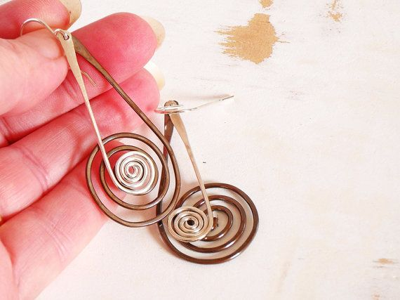 Copper and Silver Spiral Earrings Metalwork Earrings by bluetina