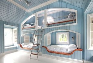 Eclectic Kids Bedroom with Hudson Valley Lighting 240-PN Polished Nickel Carson 1 Light Nautical Outdoor Wall Sconce, Carpet