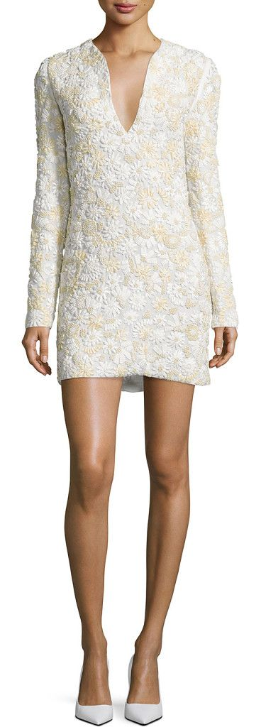"On SALE at 65% OFF! 3D Floral-Embellished Mini Dress by Tom Ford. Tom Ford woven dress with three-dimensional floral embroidery composed of satin, leather, and suede. Approx. 39.4""L (..."