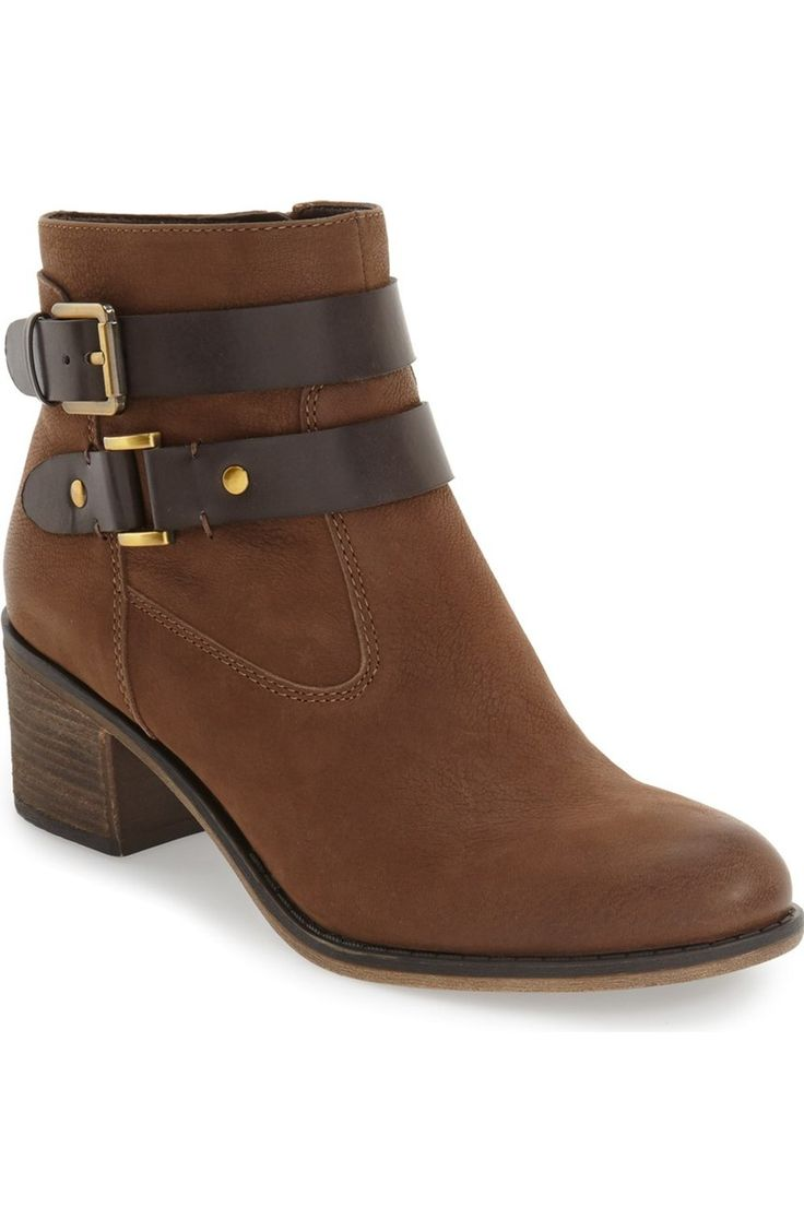 Smooth leather straps make these trend-right moto boots a statement piece while gold buckles add a chic touch. #NSale