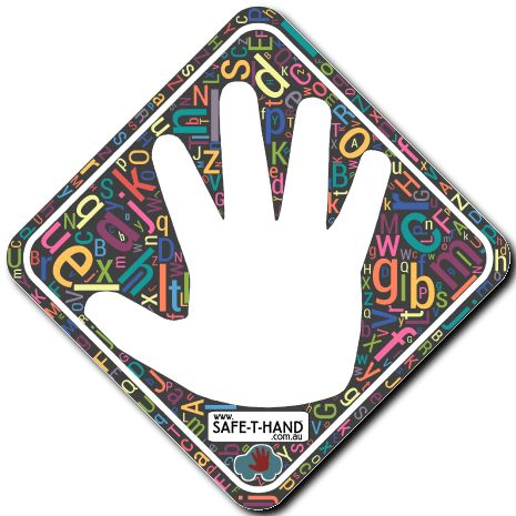 ALPHABET CRAZE Safe-T-Hand Mini Car Magnet.  Safe-T-Hand Mini's are compactly sized at 12cm x 12cm. They fit into your pocket, handbag and glove box - GRAB & GO! They arrive in cardboard Travel Wallets (14cm x 12.5cm) for flat, clean storage when not in use (e.g. when washing the car). All instructions and a visual aid are printed inside. #teach #road #safety #safethandmini #educate #fun