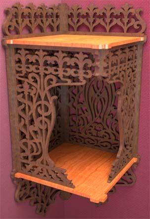 Canopy corner bracket, scroll saw fretwork pattern of a late art nouveau corner shelf