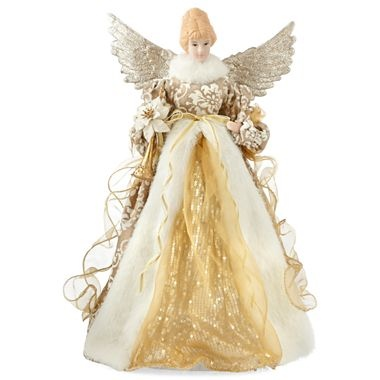Golden christmas angel tree topper jcpenney holiday decor pinterest tree toppers angel for Angel of the north christmas decoration