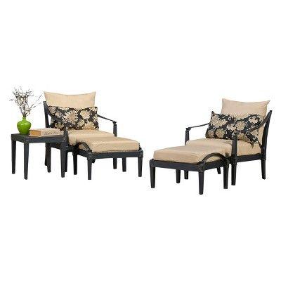 Astoria 5-Piece Metal Patio Chat Furniture Set - Beige
