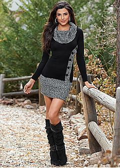 Sweater Dresses and boots (personally, I would wear black tights with this in Fall/Winter for a more polished and warm look)