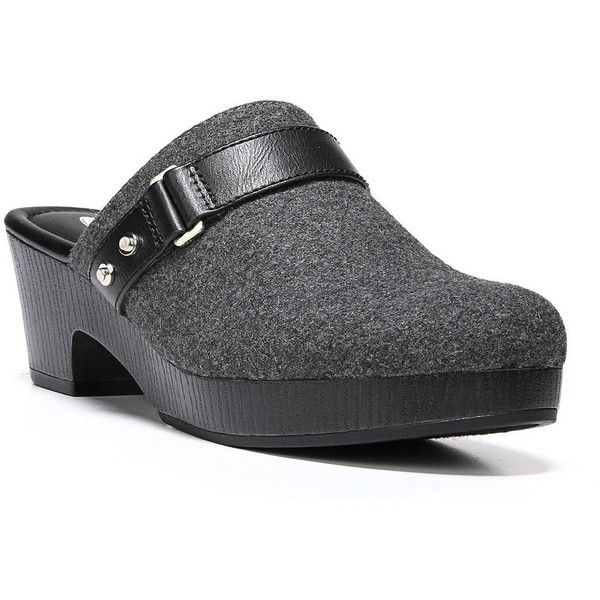 Dr. Scholl's Jessa Women's Clogs ($65) ❤ liked on Polyvore featuring shoes, clogs, dark grey, dr scholls clogs, vintage style shoes, dr scholls shoes, slip on clogs and lined clogs