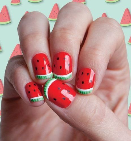 Cute Watermelon Nails fashion girly cute summer nails nail polish polish nail art manicure watermelon mani