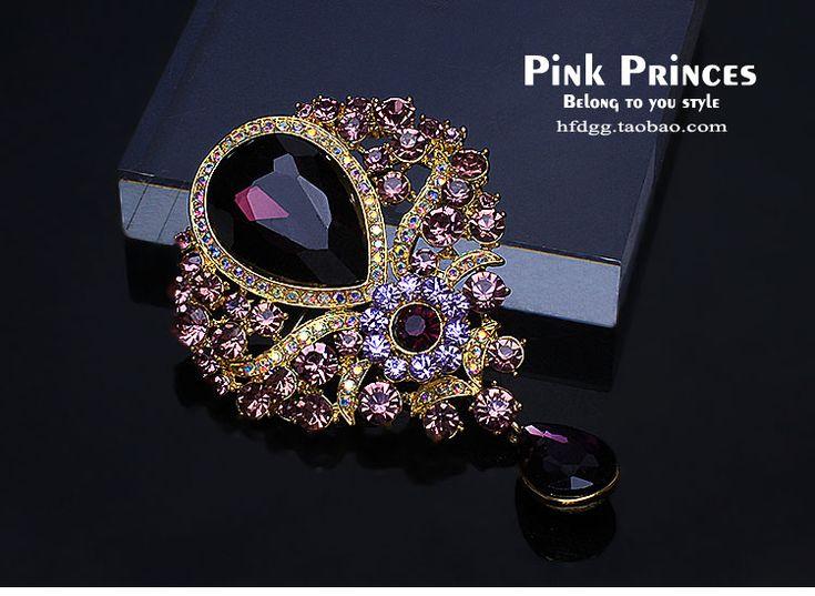 Европа осенью новый полноценный бриллиантовая брошь Корея хрусталя ветровка костюм меховой воротник контактный брошь мужчины и женщины - глобальная станция Taobao