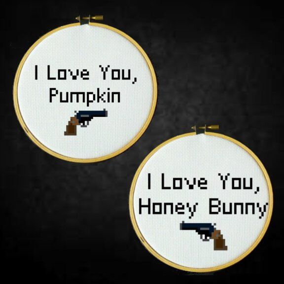 Pulp Fiction - I Love You Pumpkin, I Love You Honey Bunny - Cross Stitch PDF Pattern by LadyBeta on Etsy https://www.etsy.com/uk/listing/196291419/pulp-fiction-i-love-you-pumpkin-i-love
