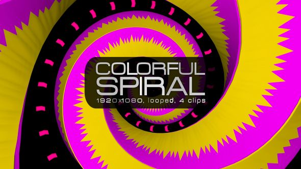 Colorful Spiral Video Animation | 4 clips | Full HD 1920×1080 | Looped | Photo JPEG | Can use for VJ, club, music perfomance, party, concert, presentation | #colorful #concert #edm #loops #magenta #music #pink #pop #psychedelic #spinning #spiral #techno #tunnel #vj #yellow