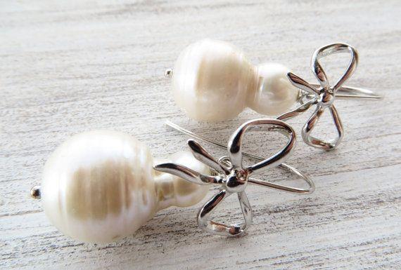 Baroque pearl earrings bow earrings dangle by Sofiasbijoux on Etsy