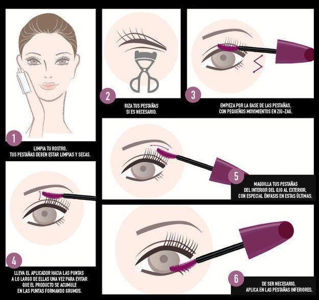 La técnica infalible para aplicar la mascara de pestañas. | 14 Infográficos que te ayudarán a dominar el arte del maquillaje