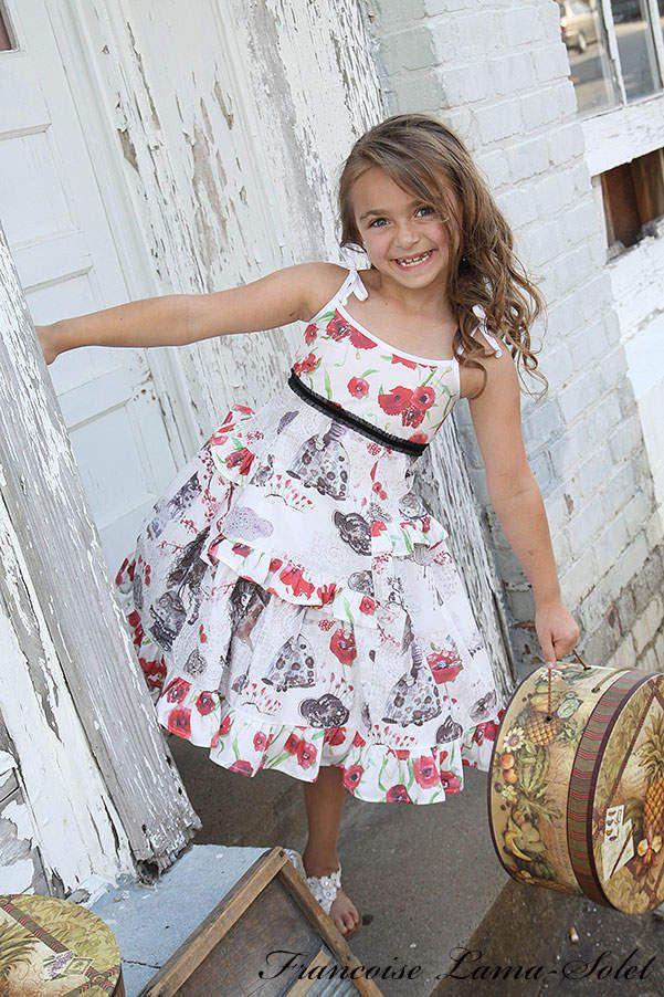 d1838f3318a Girl s spring summer ruffled red white black poppies twirl sundress  Wonderland
