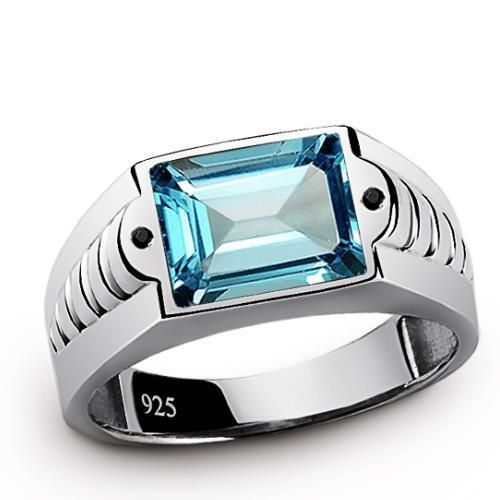 Mens Ring BLUE TOPAZ 3.40ctw with Natural Black Onyx SOLID 925 Sterling Silver #Handmade #SolitairewithAccents