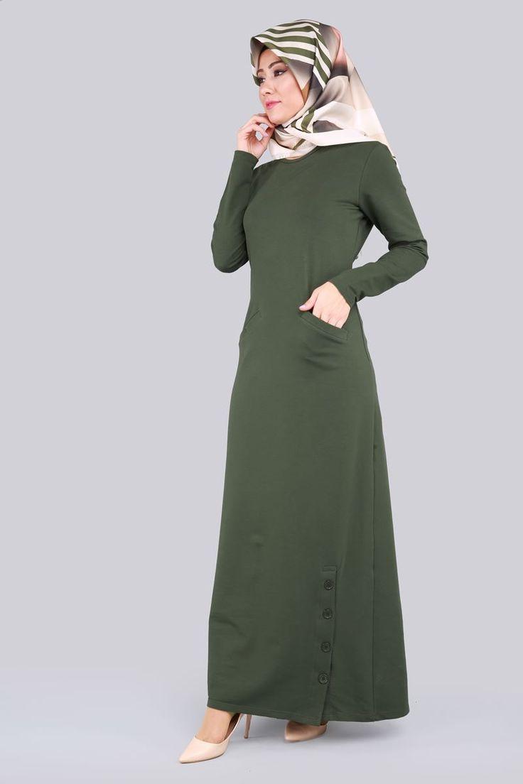 Düğme Yırtmaçlı Elbise Haki Ürün Kodu: BH2202 --> 59.90 TL
