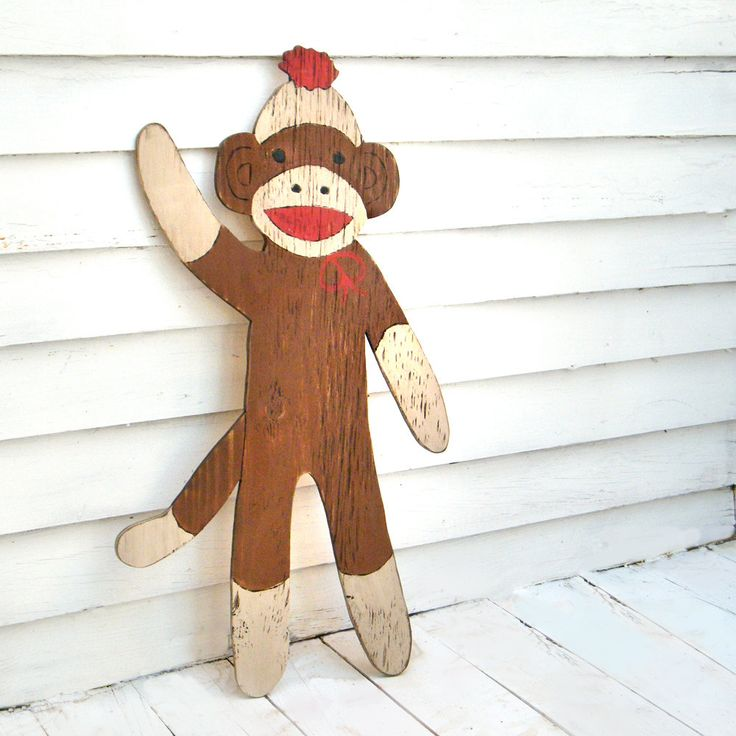 Large, rustic sock monkey sign