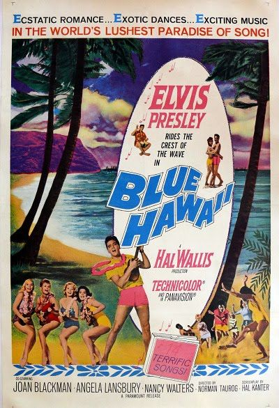 Blue Hawaii (1961) Stars: Elvis Presley Joan Blackman Angela Lansbury Run Time: 102 min Musical ~ Chadwick Gates has just gotten out of the Army, and is happy to be back in Hawaii with his surfboard, his beach buddies, and his girlfriend Maile Duval. His mother, Sarah Lee, wants him to follow in his father's footsteps and take over management at the family business, but Chad is reluctant, so he goes to work as a tour guide at his girlfriend's agency.