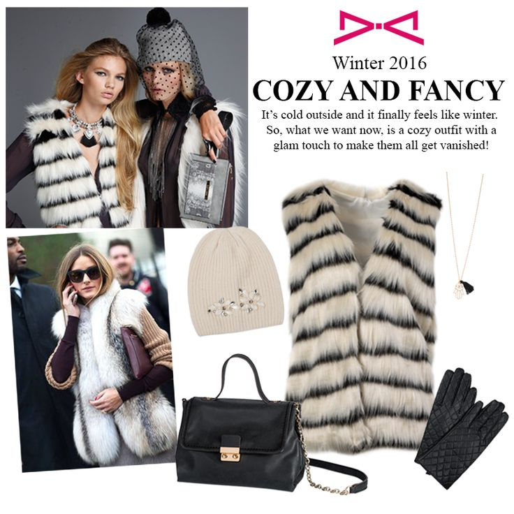Fight the cold weather with style. A fur vest is perfect with our black satchel bag and a pair of quilted gloves!