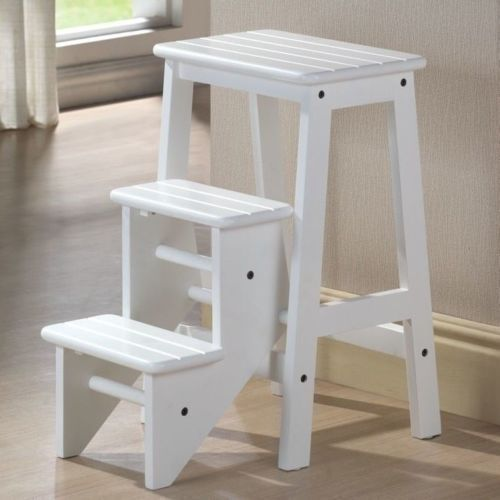 Kitchen Office Home Fold Step Stool White Classic 3 Platform Ladder Wooden New #Unknown #Unknown