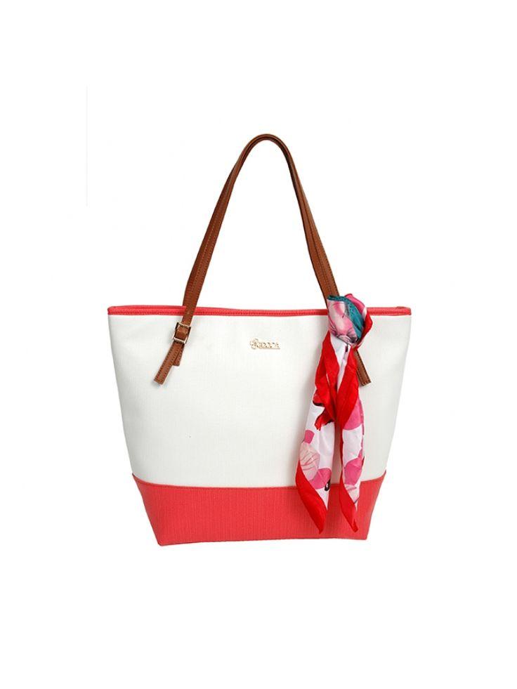 Červeno bílá  kabelka DOCA do ruky s šátkem