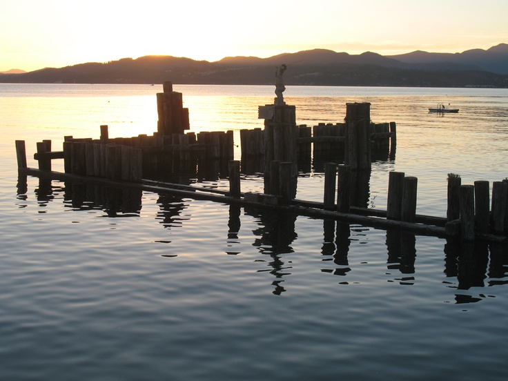 Old pilings beside the pier at Davis Bay at Sunset