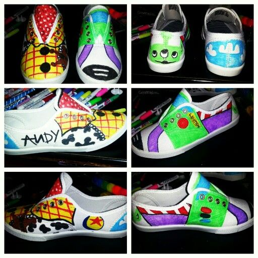 Diy toy story shoes slipons fabric markers painted buzz light year sheriff woody